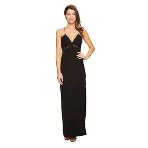 NWOT Aidan Mattox Crepe Gown Dress w Mesh Insets